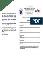 Annex C. 2017 DRRMS YEP Confirmation Sheet
