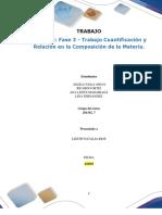 Formato entrega Trabajo Colaborativo – Unidad 2_ Fase 3 -  Trabajo Cuantificación y Relación en la Composición de la Materia