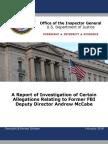 DOJ OIG Report on Andrew McCabe - April 13th Release