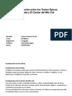 Trabajo Comparacion La Iliada Versus El Cantar Del Mio Cid