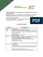 Programa de Las Jornadas Intercambio de Experiencias en Conmemoracion de Los 20 Anos de Pepam