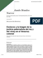 Esclavos y La Imagen de La Justicia Paternalista de la justicia en el Veracruz colonial