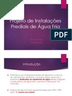 Projeto de Instalações Prediais de Água Fria 1-2018