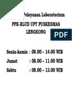 Jam Buka Pelayanan Laboratorium