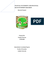 Research Proposal - The Role of Financial Statement in Invesment Decision
