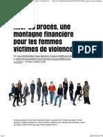 Aller Au Procès, Une Montagne Financière Pour Les Femmes Victimes de Violences - Libération