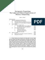 Theraputic Memory Erasure Issues