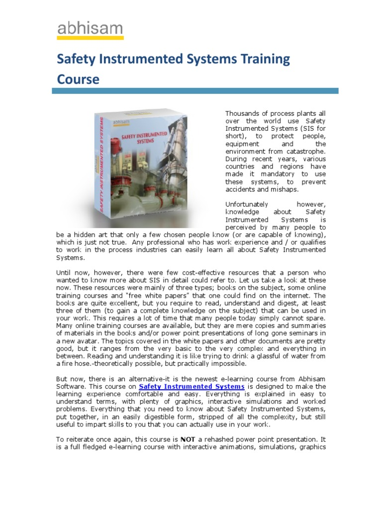 Safety Instrumented Systems Training Course Information