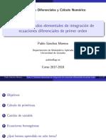 Tema 02 - Métodos Elementales de Integración de Ecuaciones Diferenciales de Primer Orden