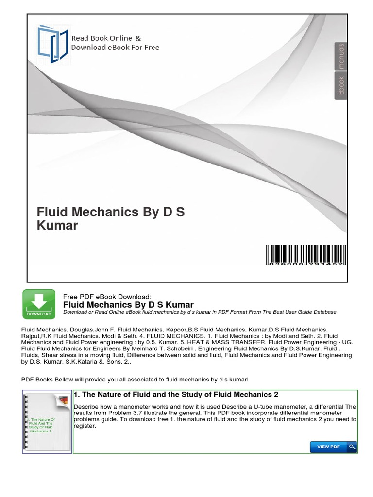 Fluid mechanics by d s kumar fluid mechanics fluid dynamics fandeluxe Image collections