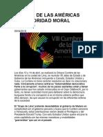 Cumbre de Las Américas Sin Autoridad Moral