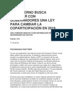 El Gobierno Busca Acordar Con Gobernadores Una Ley Para Cambiar La Coparticipación en 2019