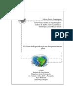 Geoprocessaento Na Organização e Análise de Dados Sócio-econômicos Municipais Para MG