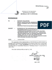 Bureau of Customs Memo 2018-04-009 Extension of the Suspension of the-Implementation of CAO 05-2016