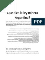 Ley Minera Argentina