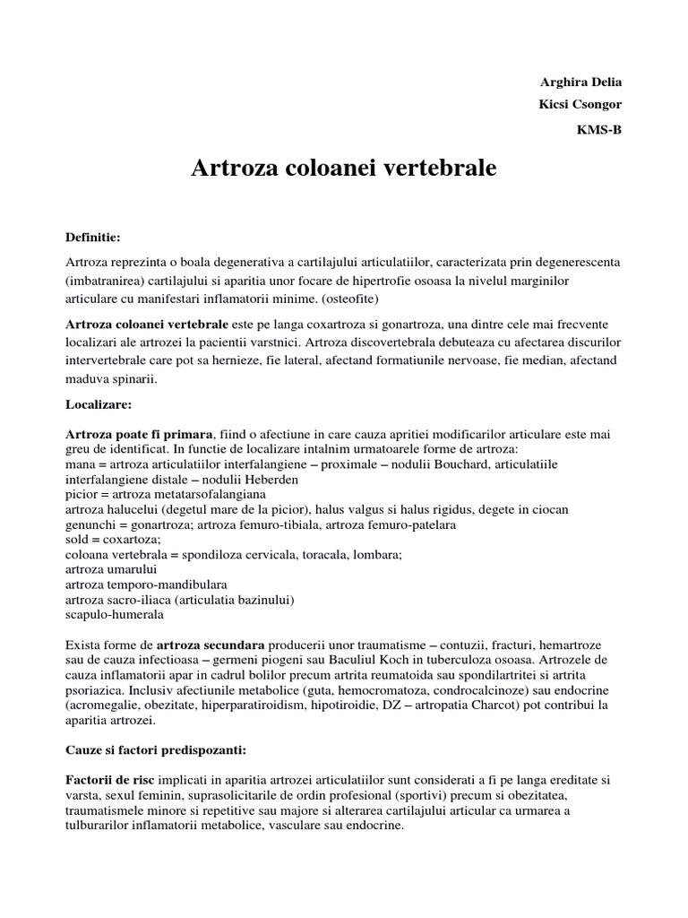 artroza articulațiilor intervertebrale ale coloanei vertebrale)