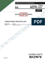 9619 Sony KDL-32BX355 40BX455 46BX45 Chassis AZ3TK Level III Televisor LCD Manual de Servicio