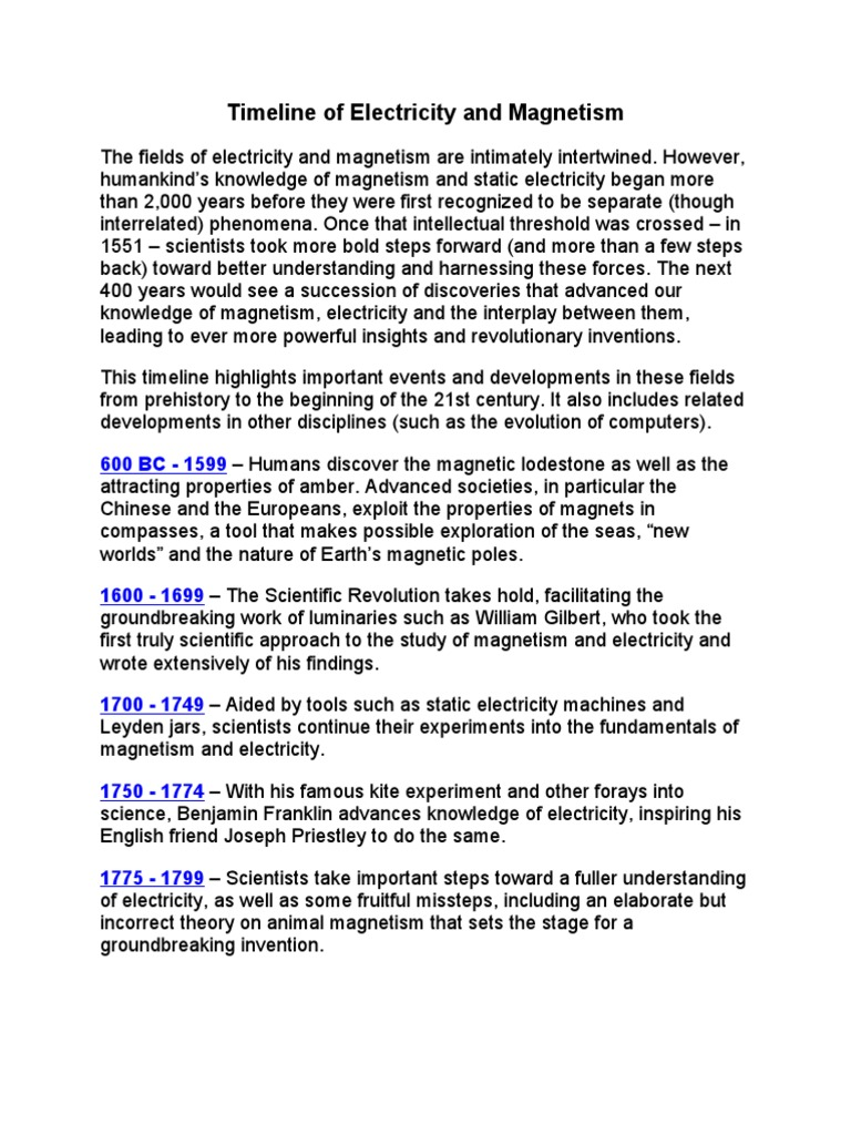 Timeline of Electricity and Magnetism | Electric Current ...