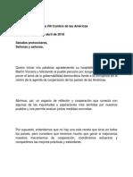 Discurso del presidente Danilo Medina en la VIII Cumbre de Las Américas