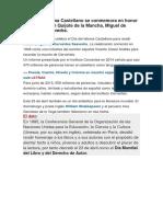 El Día Del Idioma Castellano Se Conmemora en Honor Al Autor de Don Quijote de La Mancha
