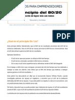 El Principio 80 20 Un Resumen de Libros Para Emprendedores