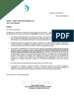 Carta Rendimiento Arquit. y Const. Depetris Tenderini Ltda
