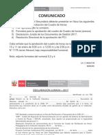 Comunicado Formato de Declaración Jurada Rd Aprobación Del Pci