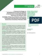 Variabilidad Del Consumo de Drogas en Estudiantes de La Carrera de Qumica y Farmacia de La Universidad Nacionalautnoma de Honduras