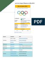 Disciplinas de Los Juegos Olímpicos de Rio 2016