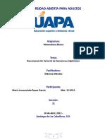 Descomposicion Factorial de Expresiones Algebraicas