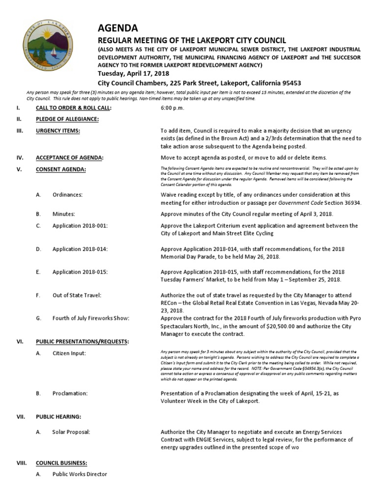 041718 Lakeport City Council Meeting Agenda Packet Self Insurance Linear Integrated Circuits 2 Units Premium Lecture Notes Lavanya Indemnity
