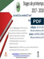 CAP ETINCELLES Stages Printemps 2017 2018