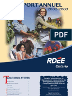 RDÉE Ontario - Rapport annuel 2002-2003