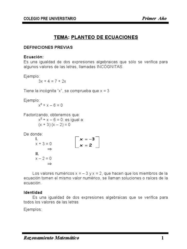 Razonamiento de Primer Año | Fórmula | Ecuaciones