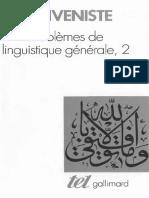 Benveniste Emile - Problèmes de Linguistique Générale Tome 2