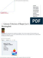 Literary Criticism of Harper Lee's to Kill a Mockingbird