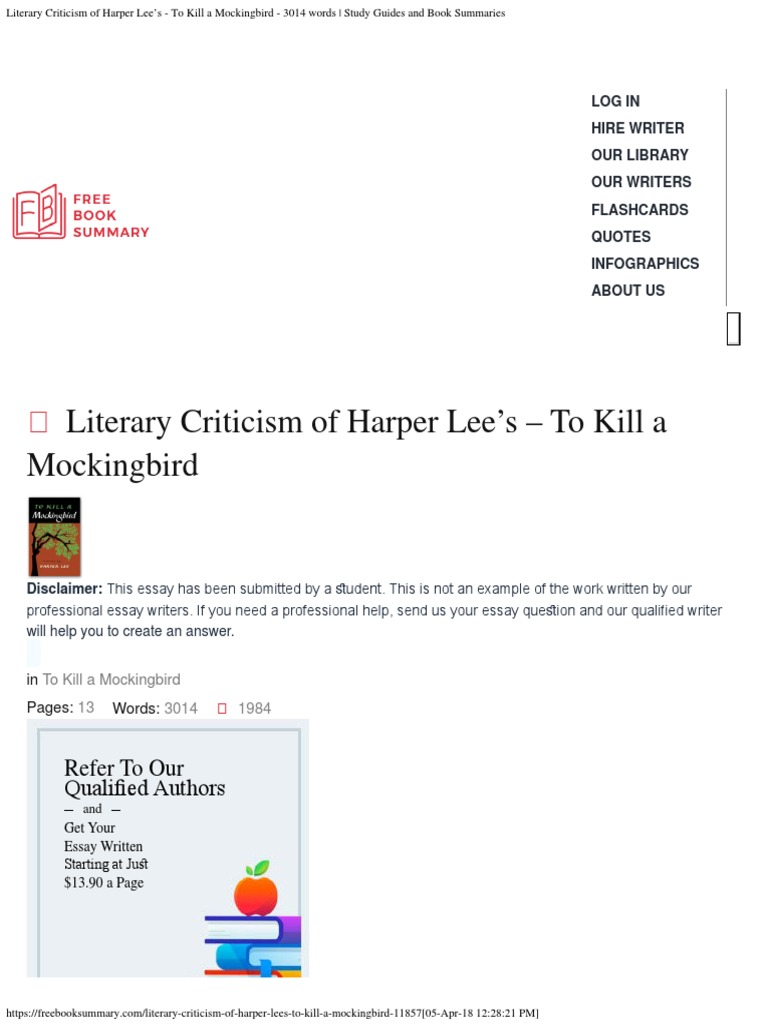 A Thesis For An Essay Should Literary Criticism Of Harper Lees To Kill A Mockingbird  To Kill A  Mockingbird  Harper Lee Essay With Thesis Statement also Essays About Business Literary Criticism Of Harper Lees To Kill A Mockingbird  To Kill A  High School Senior Essay
