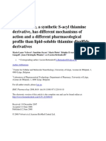 Benfotiamine, A Synthetic S-Acyl Thiamine Derivative, Has Different Mechanisms of Action and a Different Pharmacological Profile Than Lipid-soluble Thiamine Disulfide Derivatives