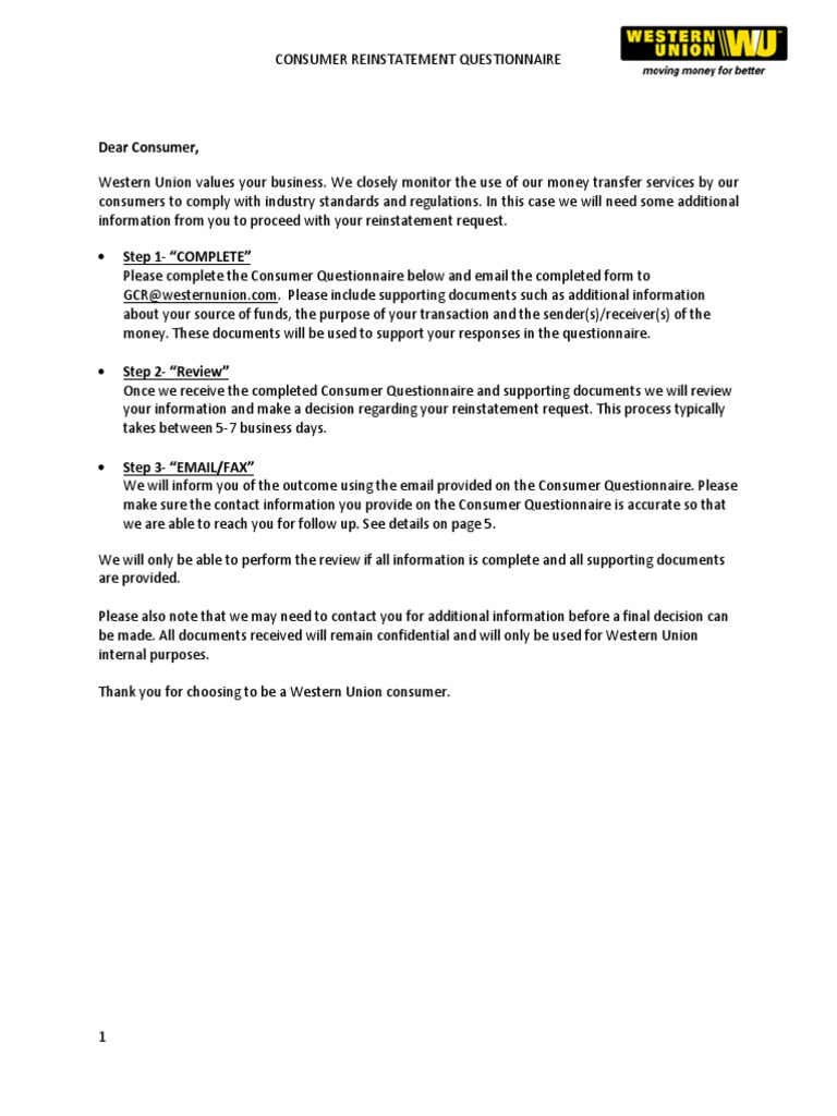 Global Reinstatement Form English | Western Union | Paycheck