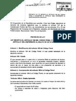 Proyecto de Ley Que Modifica El Cogio Penal Art 196 y 196 a Sobre Estafa