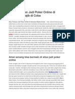 Situs Teraman Judi Poker Online Di Indonesia Wajib Di Coba