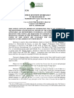 Electricidad de Caracas Event of Default Declared by Wilmington Trust - 12 April 2018