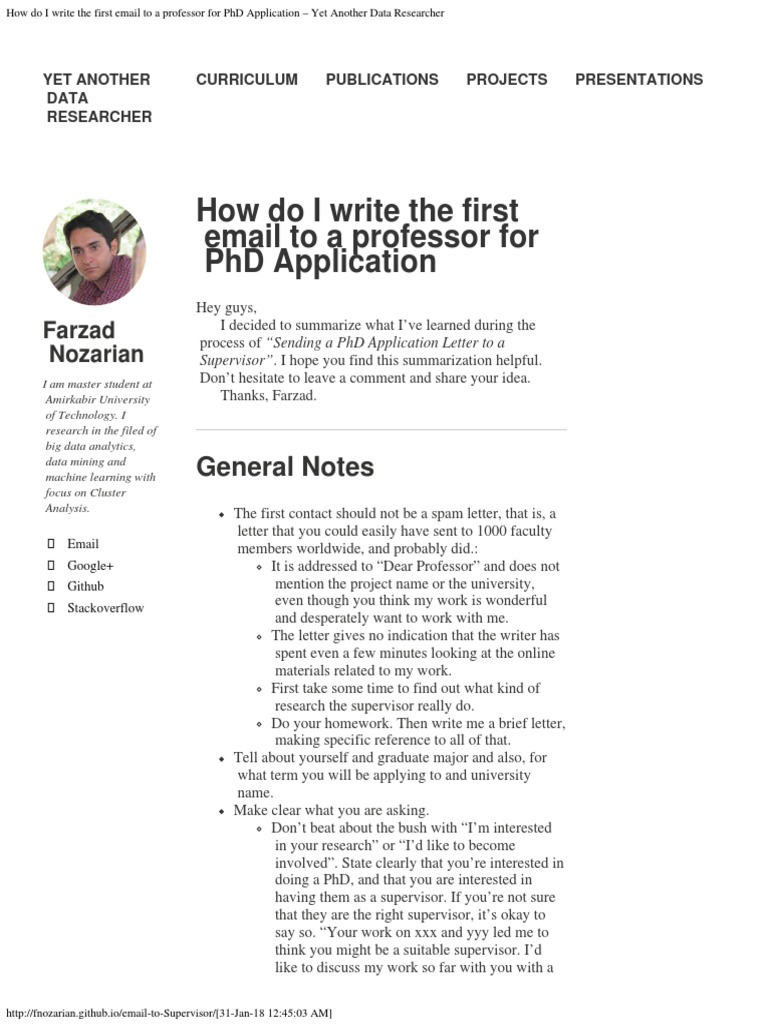 How do i write an application for a phd