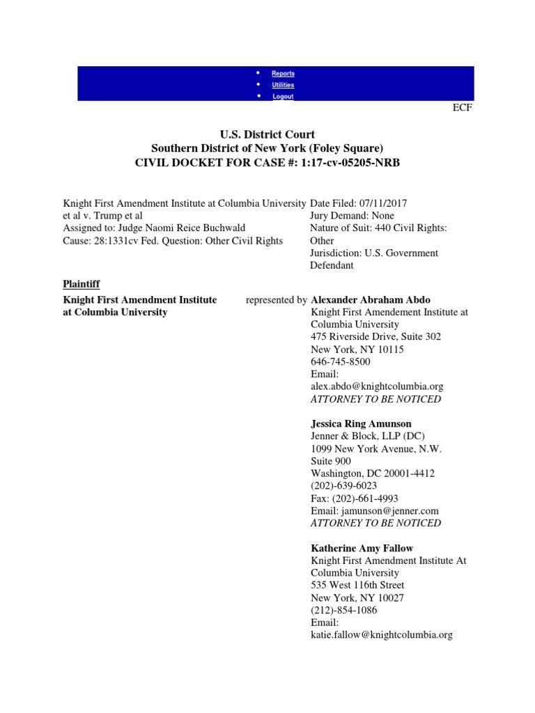 DOCKET 4 15 18 17 Cv SDNY Knight First Amendment Inst V