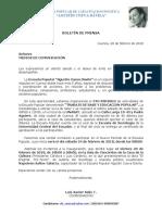 Boletín de Prensa Escuela Popular
