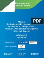 Manualul de Reglementări Internaţionale de Control al Calităţii, Audit, Revizuire, Alte Servicii de Asigurare şi Servicii Conexe, Ediția 2015