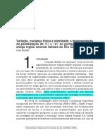 BATTISTI - Variação, Mudança Fônica e Identidade, A Implementação Da Palatalização de t e d No Português Falado Na Antiga Região Colonial Italiana Do Rio Grande Do Sul