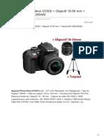 Appareil Photo Nikon D3300 Objectif 18-55 Mm Trépied-BU-VBA390AM