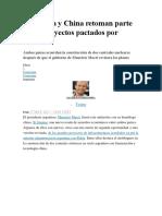 Argentina y China Retoman Parte de Los Proyectos Pactados Por Kirchner