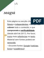 Magia – Wikipédia, A Enciclopédia Livre